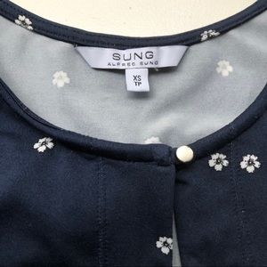Alfred Sung Navy Blouse